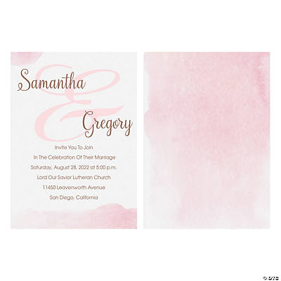 Personalized Copper Blush Ombre Wedding Invitations
