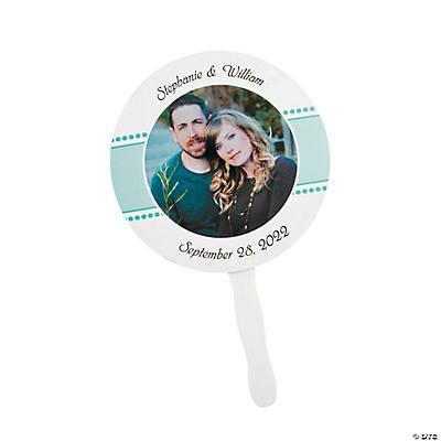 Personalized Custom Photo Round Wedding Favor Fans Image Thumbnail