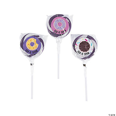 Personalized Donut Party Swirl Lollipops