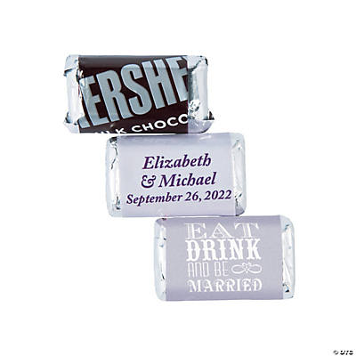 Personalized Eat, Drink and Be Married Mini Candy Bar Sticker Labels Image Thumbnail