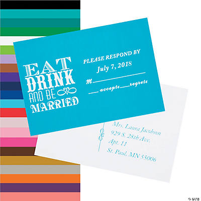 Personalized Eat Drink and Be Married Response Cards Image Thumbnail