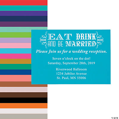 Personalized Eat Drink and Be Married Wedding Reception Cards Image Thumbnail