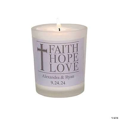 Personalized Faith, Hope, Love Votives