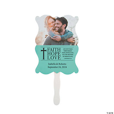 Personalized Faith, Hope, Love Wedding Favor Fans Image Thumbnail