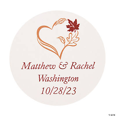 Personalized Fall Wedding Favor Stickers Image Thumbnail