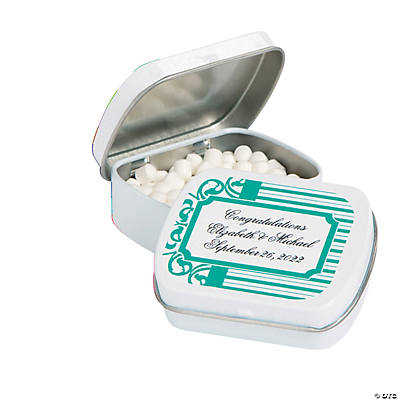 Personalized Filigree & Stripes Mint Tins Image Thumbnail