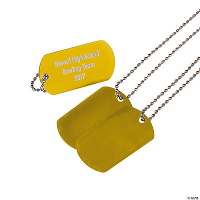 Personalized Gold Dog Tag Necklaces Image Thumbnail