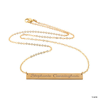 Personalized Goldtone Bar Necklace