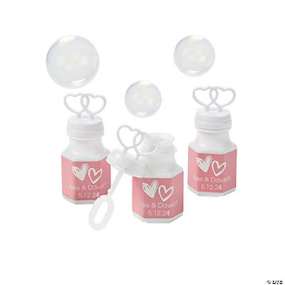 Personalized Hearts Bubble Bottles