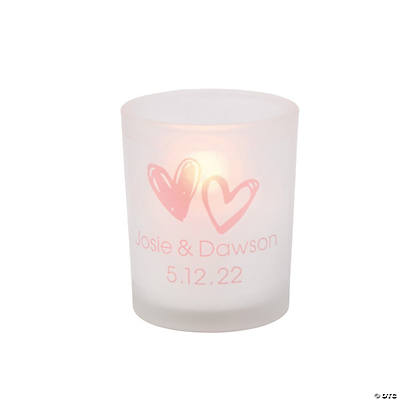 Personalized Hearts Frosted Votive Candle Holders Image Thumbnail