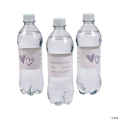 Personalized Hearts Water Bottle Labels