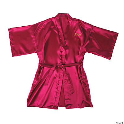 Personalized Hot Pink Satin Robe Image Thumbnail