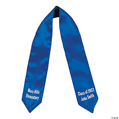 Personalized Kids' Blue Elementary School Graduation Stole Image Thumbnail