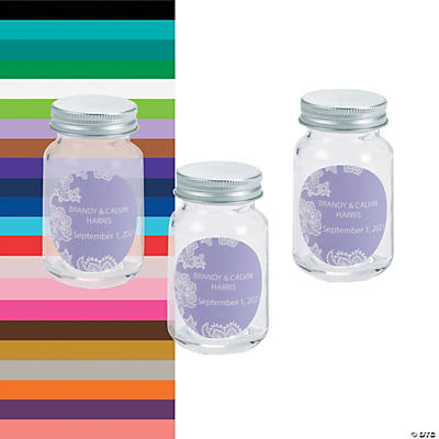 Personalized Lace Mini Mason Jar Favors Image Thumbnail
