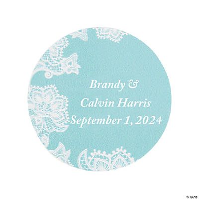 Personalized Lace Pattern Wedding Favor Stickers Image Thumbnail