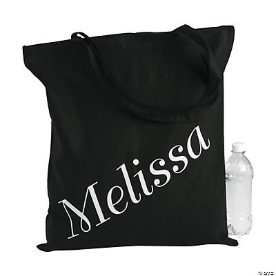 Personalized Large Black Name Canvas Tote Bag Image Thumbnail