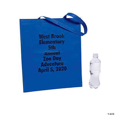 Personalized Large Blue Tote Bags with Text Color Choice