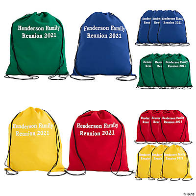 Personalized Large Bright Canvas Drawstring Bags Image Thumbnail