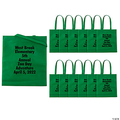 Personalized Large Green Tote Bags with Text Color Choice Image Thumbnail