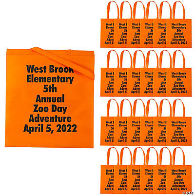 Personalized Large Orange Tote Bags with Text Color Choice Image Thumbnail