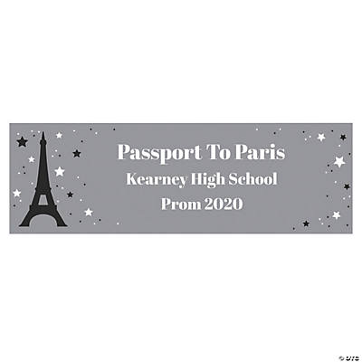 Personalized Large Passport To Paris Vinyl Banner
