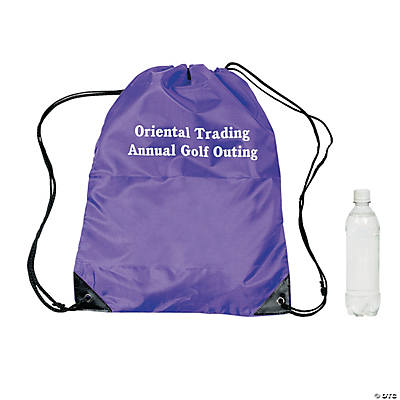 Personalized Large Purple Drawstring Bags Image Thumbnail