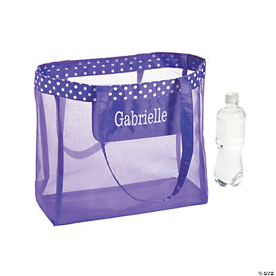 Personalized Large Purple Mesh Tote Bag with White Thread Embroidery Image Thumbnail