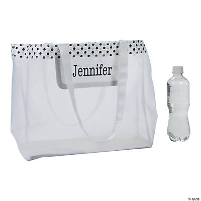 Personalized Large White Mesh Tote Bag Image Thumbnail