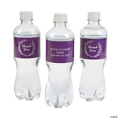 Personalized Laurel Leaf Water Bottle Labels
