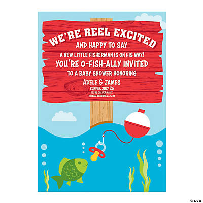 Personalized Little Fisherman Baby Shower Invitations Image Thumbnail