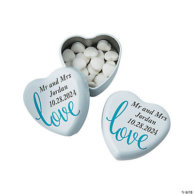 Personalized Love Script Heart Mint Tins