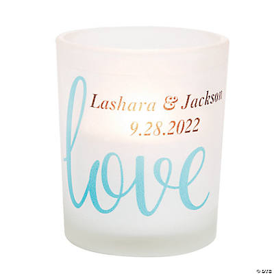 Personalized Love Script Votive Candle Holders Image Thumbnail