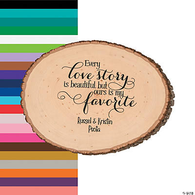 Personalized Love Story Basswood Slice Image Thumbnail