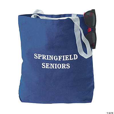 Personalized Medium Blue Canvas Tote Bags Image Thumbnail