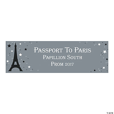 Personalized Medium Passport To Paris Vinyl Banner