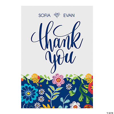 Personalized Mexican Floral Wedding Thank You Cards Image Thumbnail