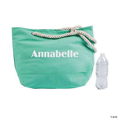 Personalized Mint Green Tote Bag with Rope Handles Image Thumbnail