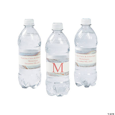 Personalized Monogram Marble Wedding Water Bottle Labels Image Thumbnail