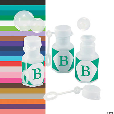 Personalized Monogram White Mini Bubble Bottles