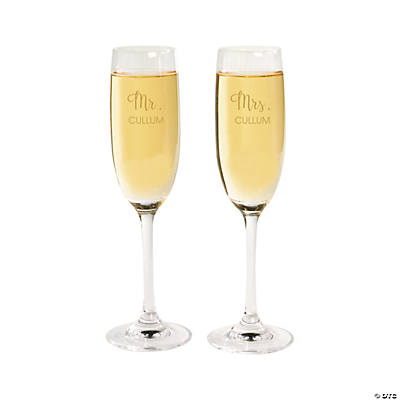 Personalized Mr. & Mrs. Champagne Flutes Image Thumbnail
