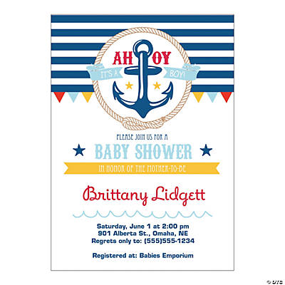 Personalized Nautical Boy Baby Shower Invitations Image Thumbnail