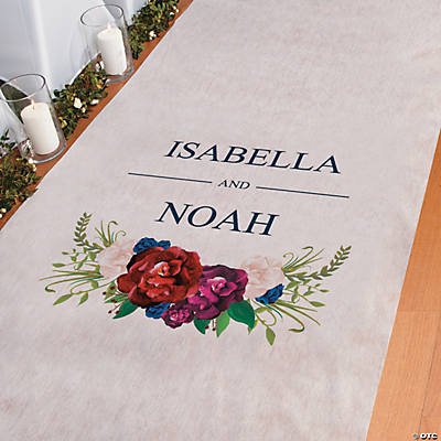 Personalized Navy Floral Aisle Runner Image Thumbnail