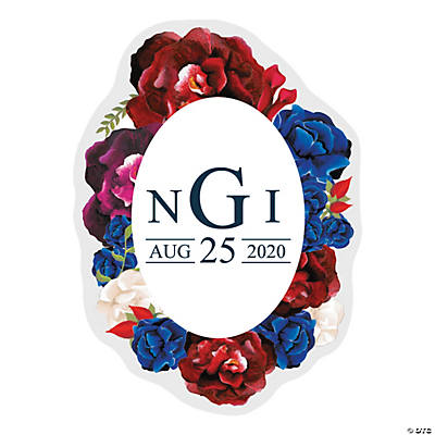 Personalized Navy Floral Favor Stickers Image Thumbnail