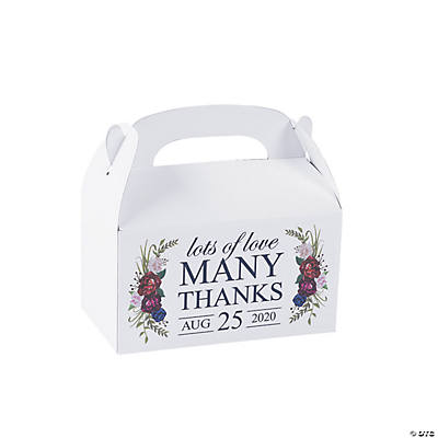 Personalized Navy Floral Treat Boxes Image Thumbnail