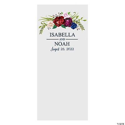 Personalized Navy Floral Vinyl Backdrop Banner