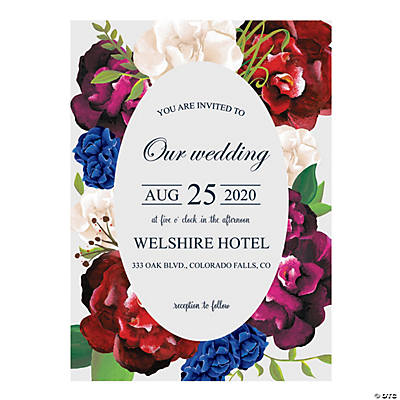 Personalized Navy Floral Wedding Invitations