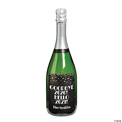 Personalized New Year's Eve Wedding Champagne Bottle Label Image Thumbnail