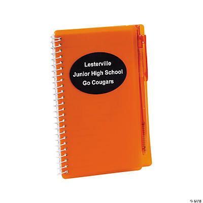 Personalized Orange Spiral Notebooks with Pens Image Thumbnail