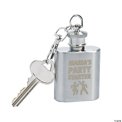 Personalized Party Starter Flask Keychain Image Thumbnail