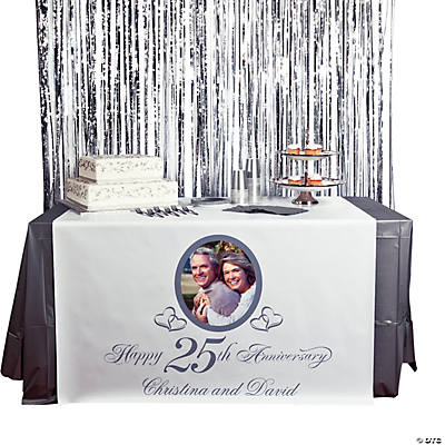 Personalized Photo 25th Anniversary Table Runner Image Thumbnail
